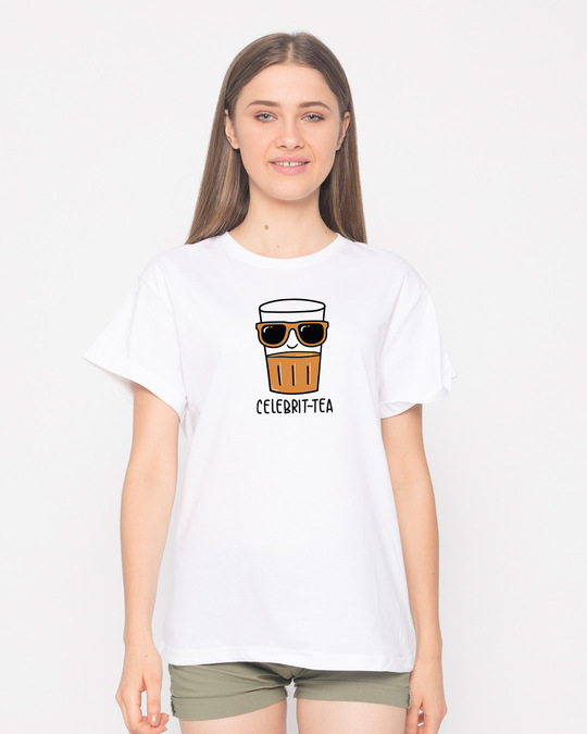 Shop Celebri-tea Boyfriend T-Shirt-Front