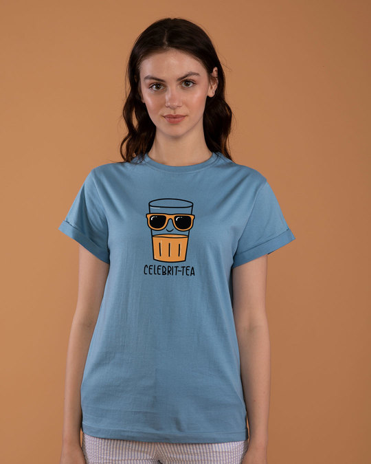 Shop Celebri-tea Boyfriend T-Shirt-Front