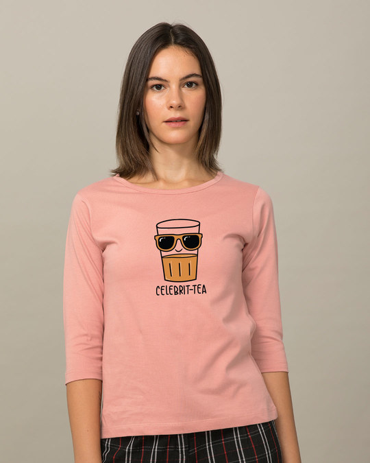 Shop Celebri-tea Round Neck 3/4th Sleeve T-Shirt-Front