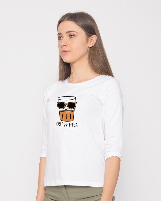 Shop Celebri-tea Round Neck 3/4th Sleeve T-Shirt-Back