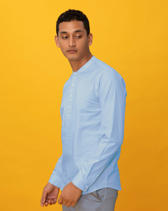 Shop Celeste Blue Mandarin Collar Henley Full Sleeve Shirt-Back