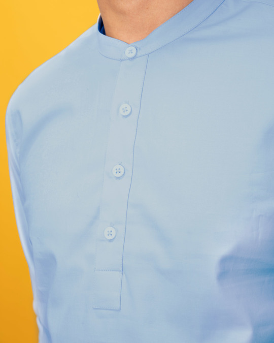Shop Celeste Blue Mandarin Collar Henley Full Sleeve Shirt