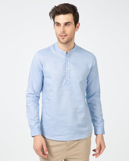 Shop Celeste Blue Mandarin Collar Henley Full Sleeve Shirt-Back