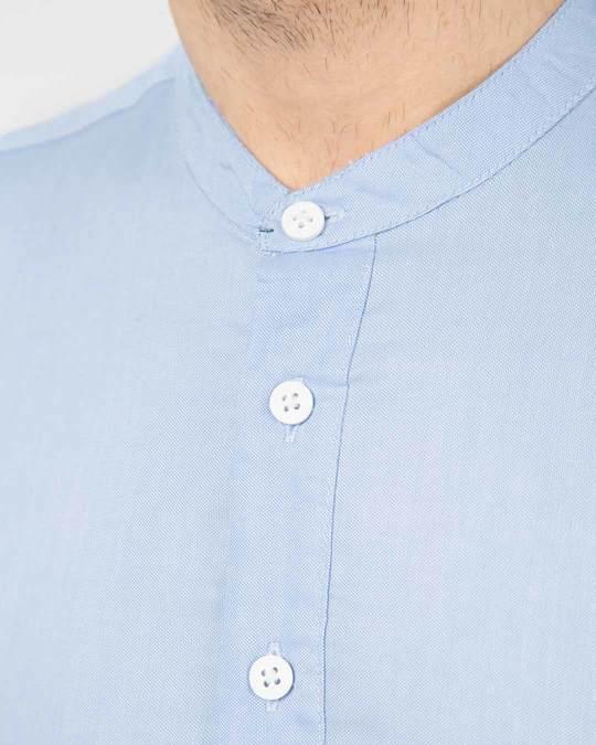 Shop Celeste Blue Mandarin Collar Henley Full Sleeve Shirt