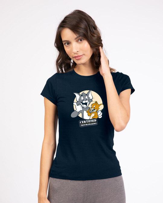 Shop Certified Troublemakers Half Sleeve T-Shirt (TJL) Navy Blue-Back