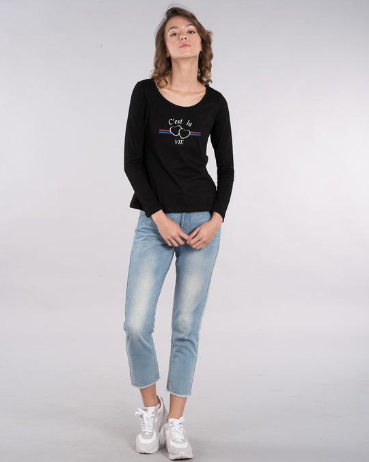 Shop Cest'la Vie-paris Scoop Neck Full Sleeve T-Shirt-Design