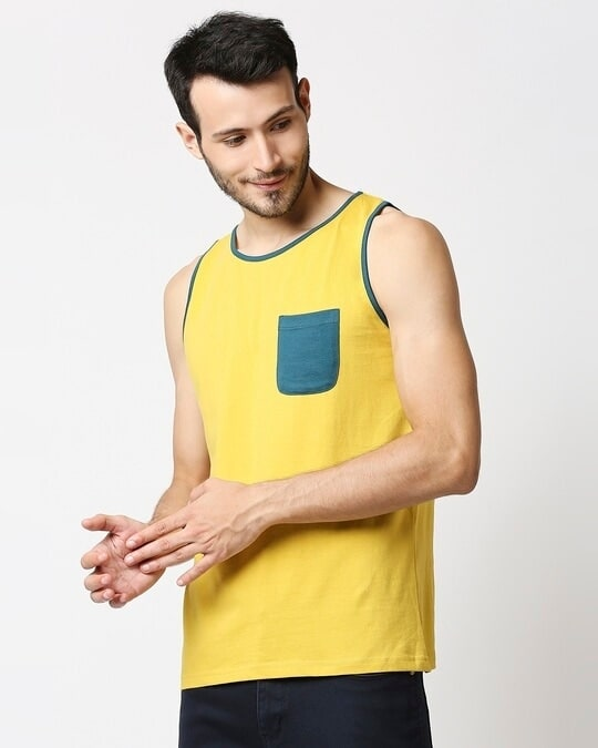 Shop Ceylon Yellow Contrast Binding Pocket Vest-Design