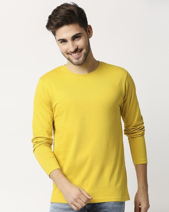 Shop Ceylon Yellow Full Sleeve T-shirt-Front