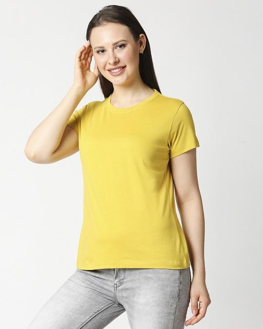 Shop Ceylon Yellow Half Sleeve Relaxed Fit T-Shirt-Design