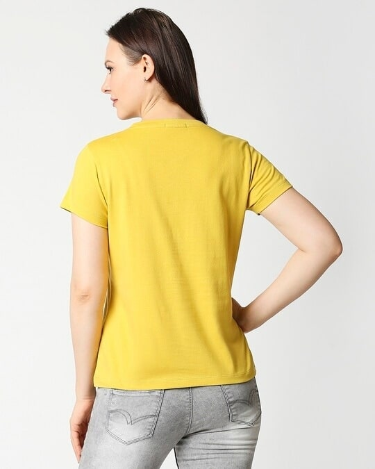 Shop Ceylon Yellow Half Sleeve Relaxed Fit T-Shirt-Full