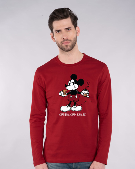 Shop Chai Lover Mickey Full Sleeve T-Shirt (DL)-Front