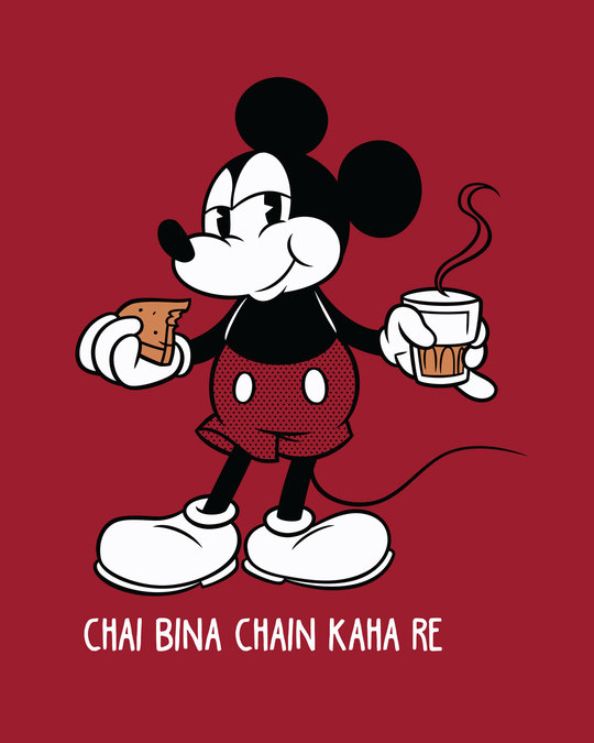 Shop Chai Lover Mickey Half Sleeve T-Shirt (DL)-Full