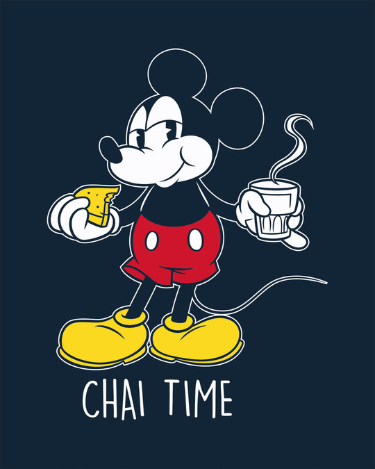 Shop Chai Time Mickey Round Neck 3/4th Sleeve T-Shirt (DL)