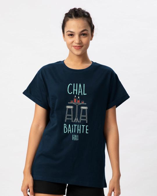Shop Chal Baithte Hai Boyfriend T-Shirt-Front