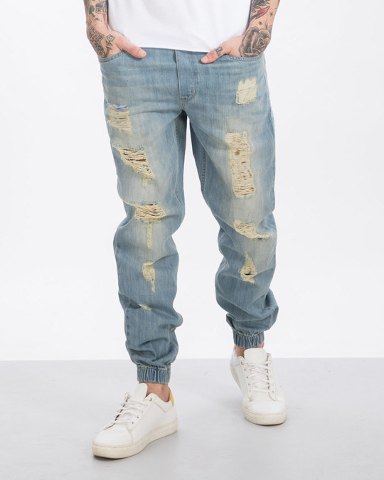 Shop Chalk Blue Ripped Denim Joggers-Front