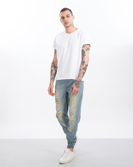 Shop Chalk Blue Ripped Denim Joggers