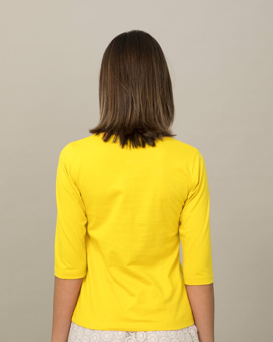Shop Challenge Accepted By Me Round Neck 3/4th Sleeve T-Shirt-Back