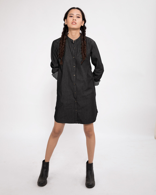 Shop Charcoal Black Denim Shirt Dress-Full
