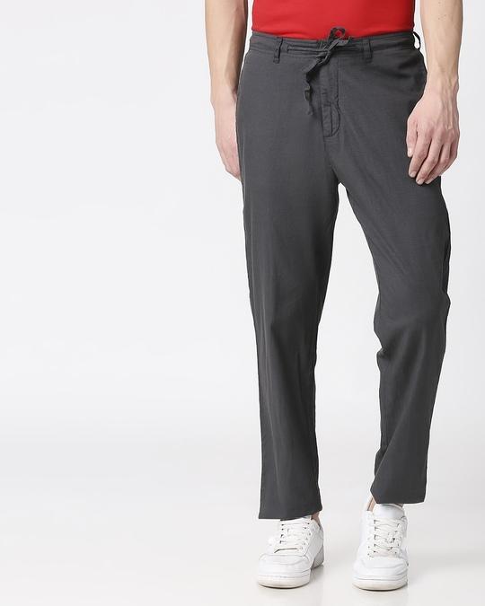 Shop Charcoal Grey Casual Cotton Pants-Back