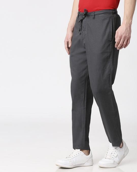 Shop Charcoal Grey Casual Cotton Pants-Design