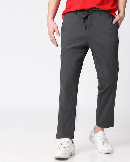 Shop Charcoal Grey Casual Cotton Trouser-Front