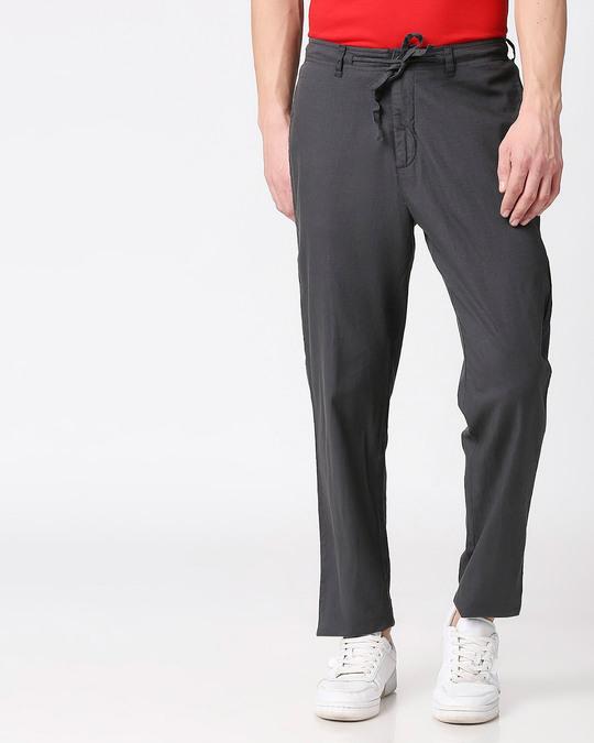 Shop Charcoal Grey Casual Cotton Trouser-Back