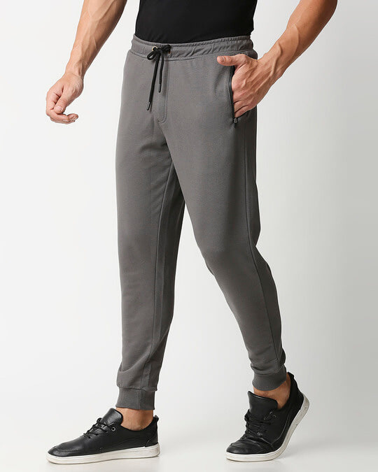 Shop Charcoal Grey Jogger Pants With Zipper-Back