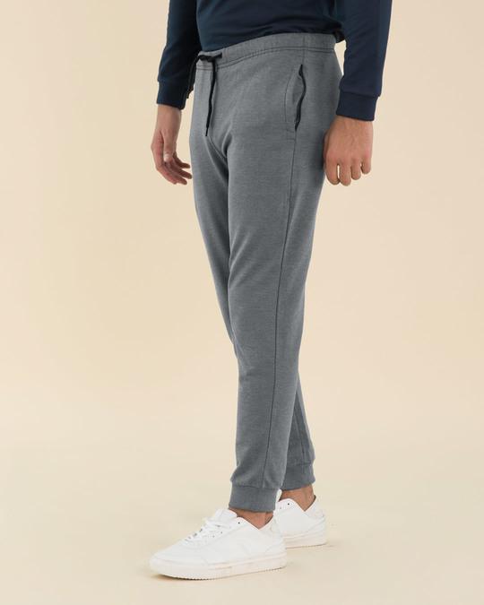 Shop Charcoal Heather Melange Zipper Joggers-Design