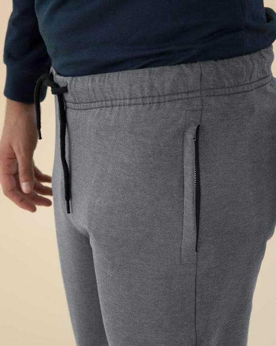 Shop Charcoal Heather Melange Zipper Joggers
