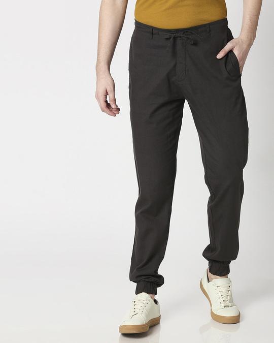 Shop Charcoal Grey Cotton Joggers Pants-Back