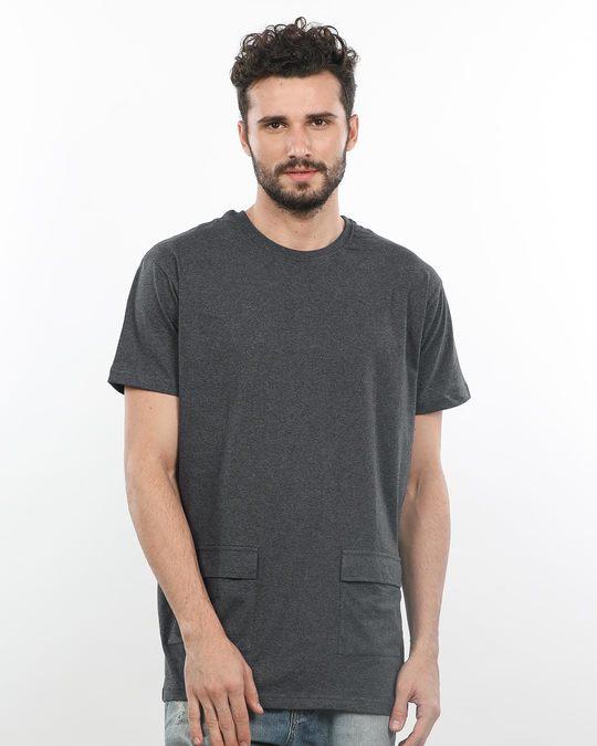 Shop Charcoal Melange Pocket Longline T-Shirt-Front