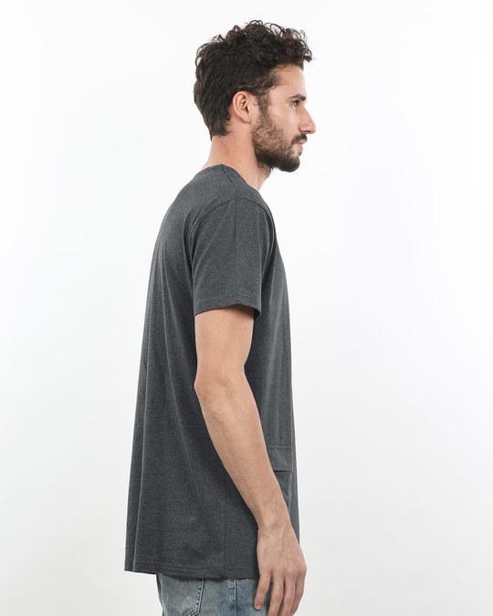 Shop Charcoal Melange Pocket Longline T-Shirt-Back