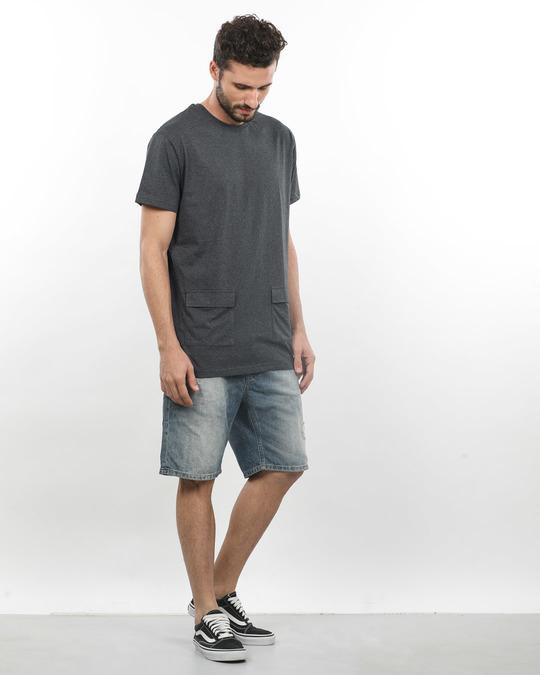 Shop Charcoal Melange Pocket Longline T-Shirt