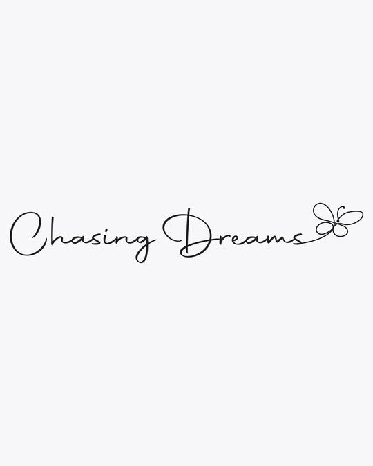 Shop Chasing Dream Round Neck 3/4 Sleeve T-Shirts White-Full