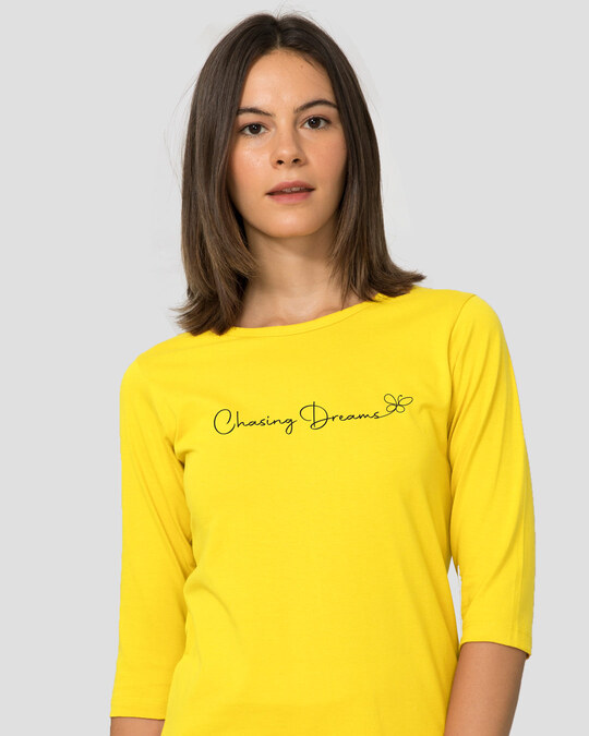 Shop Chasing Dream Round Neck 3/4th Sleeve T-Shirt Pineapple Yellow-Back