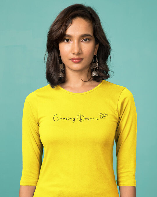 Shop Chasing Dream Round Neck 3/4th Sleeve T-Shirt Pineapple Yellow-Front