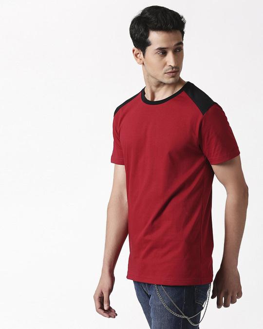 Shop Cherry Red Back Panel Half Sleeve T-Shirt-Design