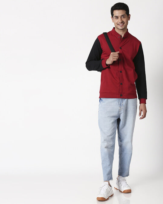 Shop Cherry Red Bomber Jacket