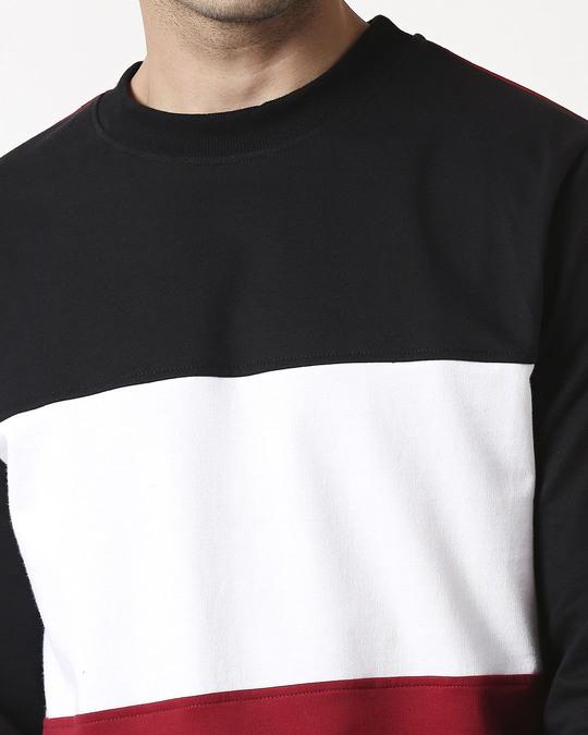 Shop Cherry Red Color Block Fleece Sweater