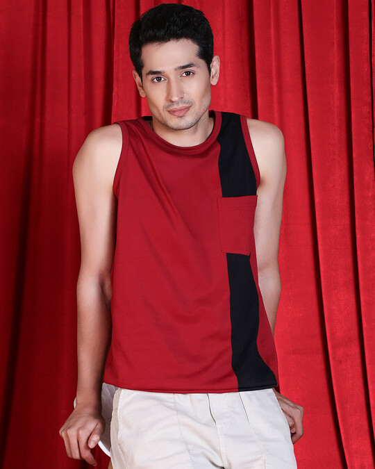 Shop Cherry Red Color Block Pocket Vest-Front