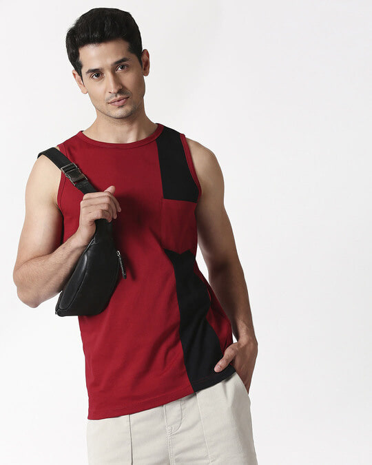Shop Cherry Red Color Block Pocket Vest-Back