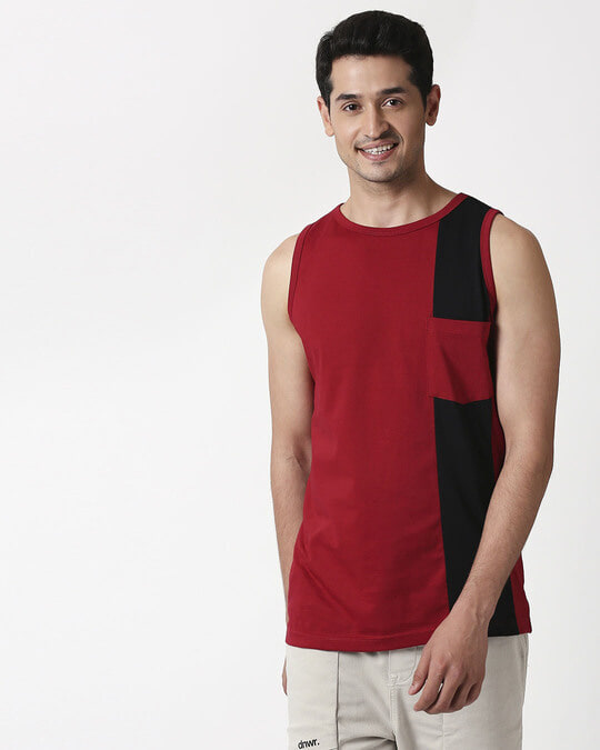 Shop Cherry Red Color Block Pocket Vest-Design