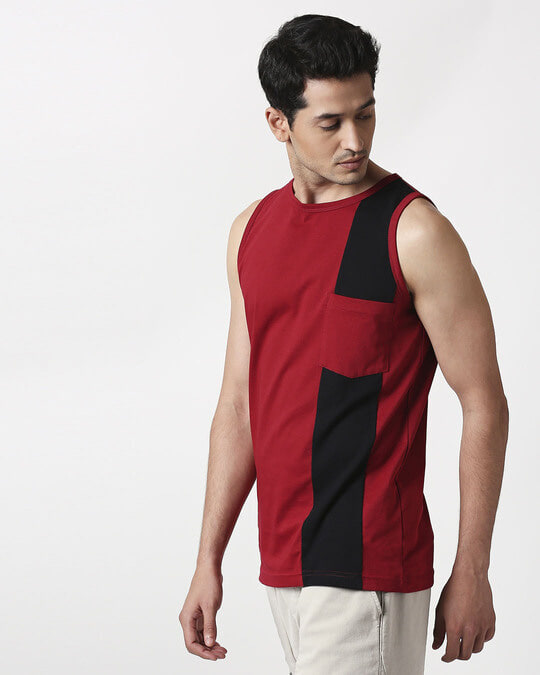 Shop Cherry Red Color Block Pocket Vest-Full
