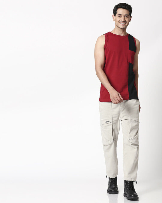Shop Cherry Red Color Block Pocket Vest