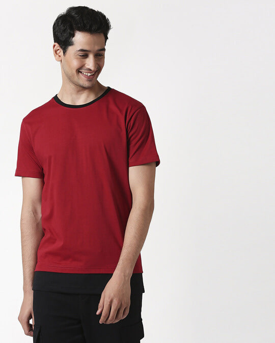 Shop Cherry Red Contrast Hem T-Shirt-Back