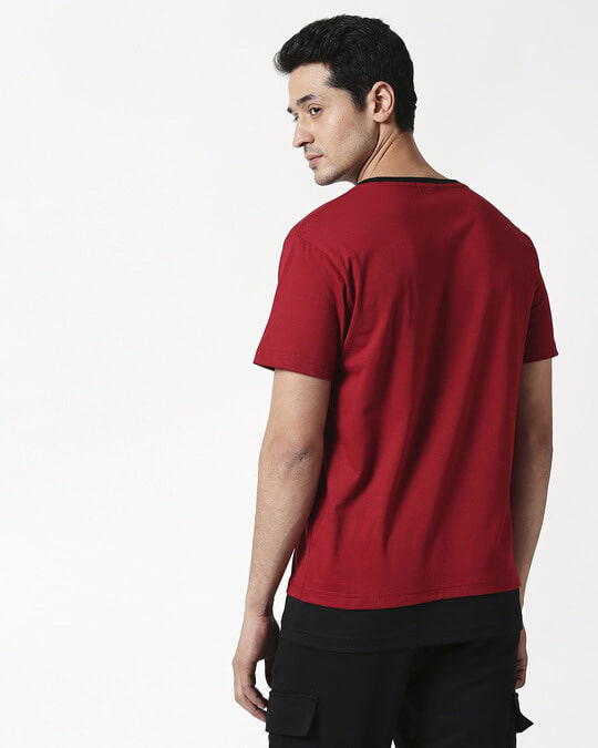 Shop Cherry Red Contrast Hem T-Shirt-Full