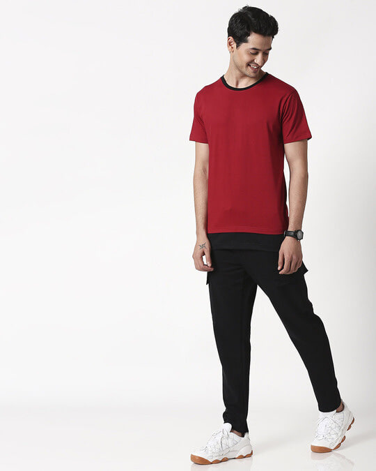 Shop Cherry Red Contrast Hem T-Shirt