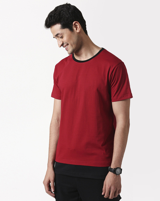 Shop Cherry Red Contrast Hem T-Shirt-Front