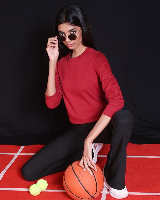 Shop Cherry Red Fleece Sweater-Front