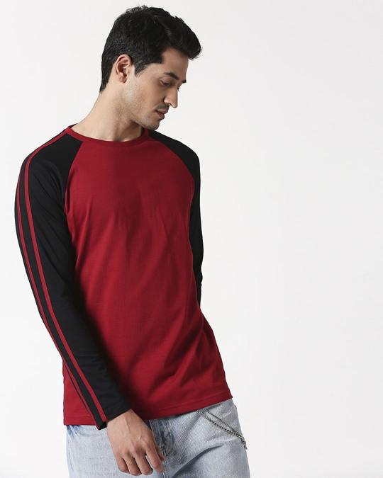 Shop Cherry Red Full Sleeeve Raglan T-Shirt-Back